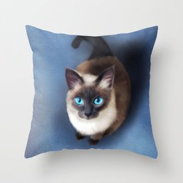Siamese Cat (Digital Drawing) Throw Pillow