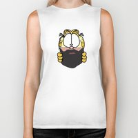 garfield Biker Tanks featuring Garfield Cat Beard by Stuff Your Eyes