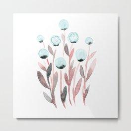 Simple watercolor flowers - pastel pink and blue Metal Print