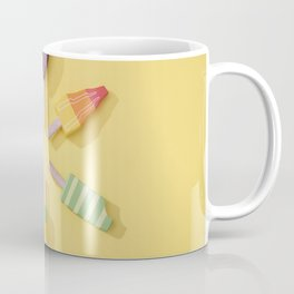Ice Cream Lollipops on a Bright Yellow Background Coffee Mug