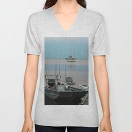 Boats in the harbor after a day of fishing in Cedar Key, Florida Unisex V-Neck