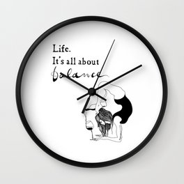 funny yoga print, original yoga art, unique yoga gift, black and white, modern, yoga wine, yogi Wall Clock