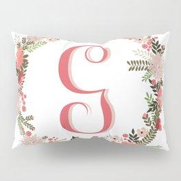 Personal monogram letter 'G' flower wreath Pillow Sham