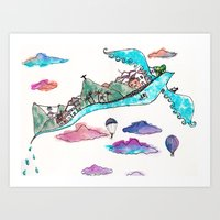 rio de janeiro Art Prints featuring Flying Rio de Janeiro by Marina Papi
