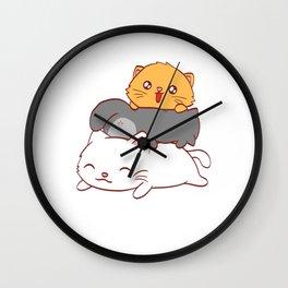 Pyramid Pawntain Pet Animals Kitten Design Purramid Fountain Puntastic Kittie Feline Claw Claws Wall Clock