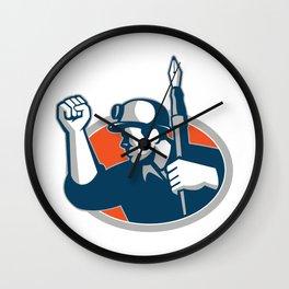 Coal Miner Holding Pen Mascot Wall Clock