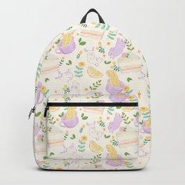 Tea, Cake and Bunnies - Art illustration - Cute Artwork Backpack