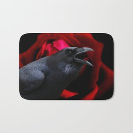 Surreal Crow against Red Rose A590 Bath Mat