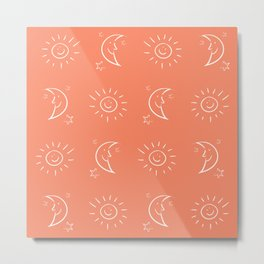 The Sun, Moon, & Stars (Coral) Metal Print