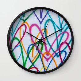 Multicoloured Love Hearts Graffiti Repeat Pattern Wall Clock
