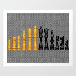 Check Mate / Black / Gold Chess Pieces Art Print