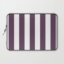 Dark byzantium purple - solid color - white vertical lines pattern Laptop Sleeve