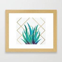 Modern Succulent - metallic accents Framed Art Print