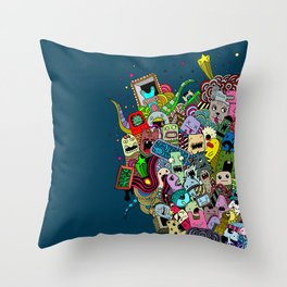 Hand-drawn little funny monsters Throw Pillow