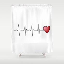 Minimalistic love heart beat design Shower Curtain