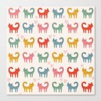 cartoons Canvas Prints featuring Cute color cats kitten cartoons by Maju Fernandez