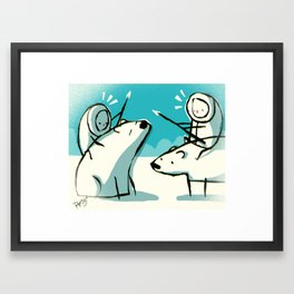 Meanwhile in the north pole Framed Art Print