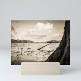 Cloudy Möhne Reservoir Lake 2 sepia Mini Art Print