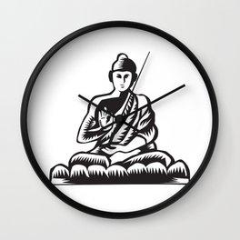 Buddha Lotus Pose Woodcut Wall Clock