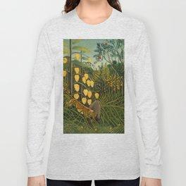 "Henri Rousseau ""Tropical Forest: Battling Tiger and Buffalo"", 1908 Long Sleeve T-shirt"