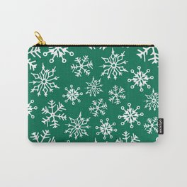 Snowflakes Pattern (Green) Carry-All Pouch
