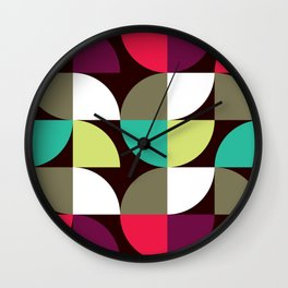 Geometric Pattern 17 (green red quarter circles) Wall Clock
