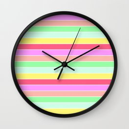 Pastel Rainbow Sorbet Horizontal Deck Chair Stripes Wall Clock