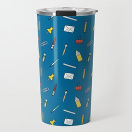 Happy office stationery in blue background Travel Mug