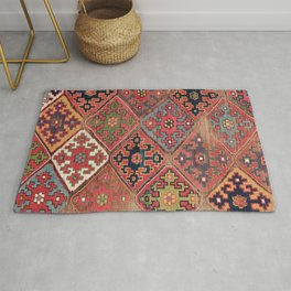 Rosettes Diamond and Stars // 19th Century Colorful Red Black Dusty Blue Space Ornate Accent Pattern Rug