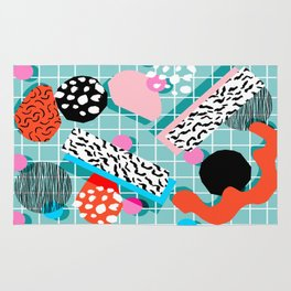 The 411 - wacka abstract memphis grid throwback retro cool neon 80s style minimal mixed media Rug