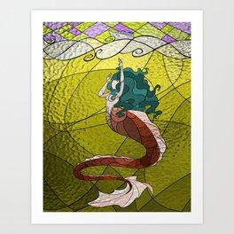 Primeval Mermaid (yellow) Art Print