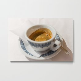 Italian espresso coffe with cream on a table outside a bar in Italy. Metal Print