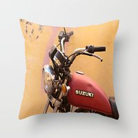 motorbike Throw Pillows featuring Vintage motorbike  by Theoteom