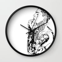 stephen king Wall Clocks featuring Stephen by christinabrunette