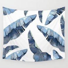Banana Leaves 2 Blue Wall Tapestry