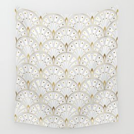 marble and gold art deco scales pattern Wall Tapestry