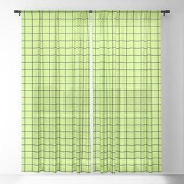 Lime Green with Black Grid Sheer Curtain
