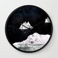 polar bear Wall Clocks featuring Polar Bear by Sandra Dieckmann