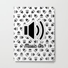 Music On (black on white version) Metal Print