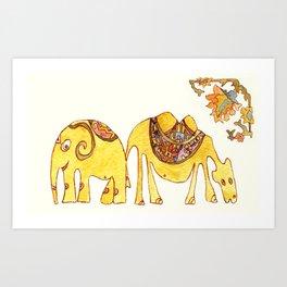 Elefant and Camel Art Print