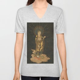 Welcoming Descent of Jizo 13th Century Japanese Scroll Unisex V-Neck