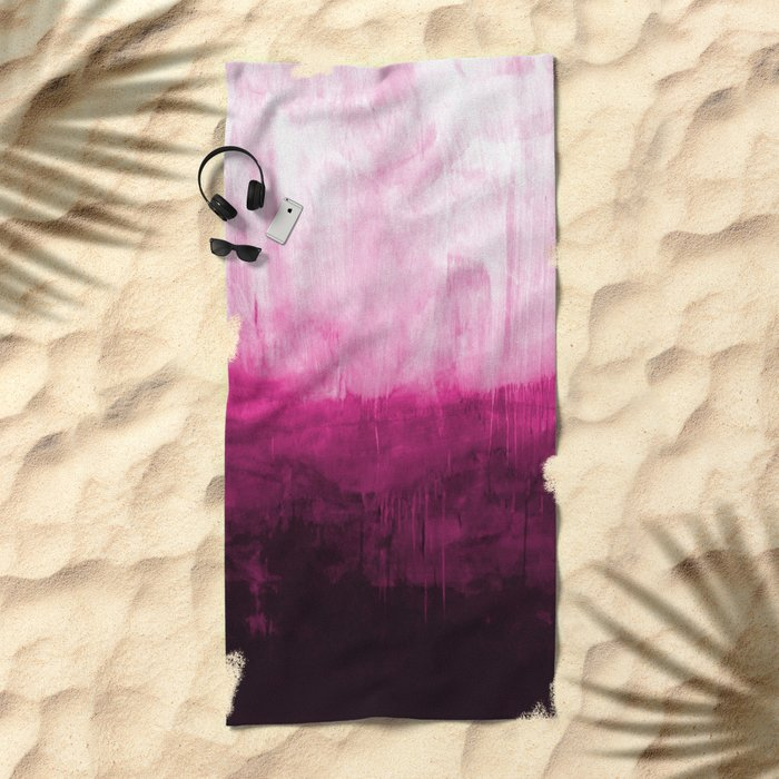 Paint 7 pink abstract painting ocean sea minimal modern bright colorful dorm college urban flat Beach Towel