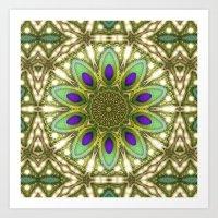 Peacock Healing Light Mandala Art Print