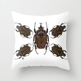 Goliath Flower Beetle Throw Pillow