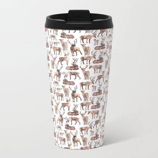 Christmas Reindeer.  Metal Travel Mug