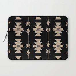 Southwestern Arrow Pattern 233 Black and Beige Laptop Sleeve