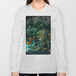 Gold Indigo Malachite Marble Long Sleeve T-shirt