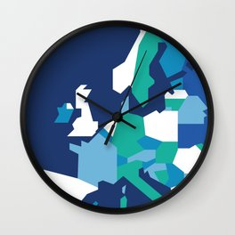 Geometric Europe Map - Blue Wall Clock