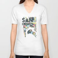 san diego V-neck T-shirts featuring San Diego by Studio Tesouro