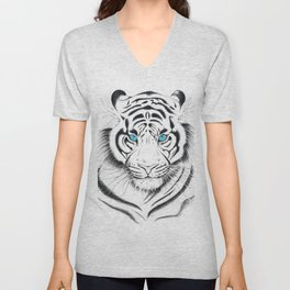White Bengal tiger Blue Eyes Ink Art Unisex V-Neck